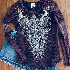 Vocal Soft Maroon Thermal Tee With Lots Of Bling